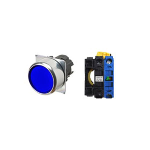 Botão Omron, diam.22mm, azul, iluminado - A22NL-RNM-TAA-G100-AC